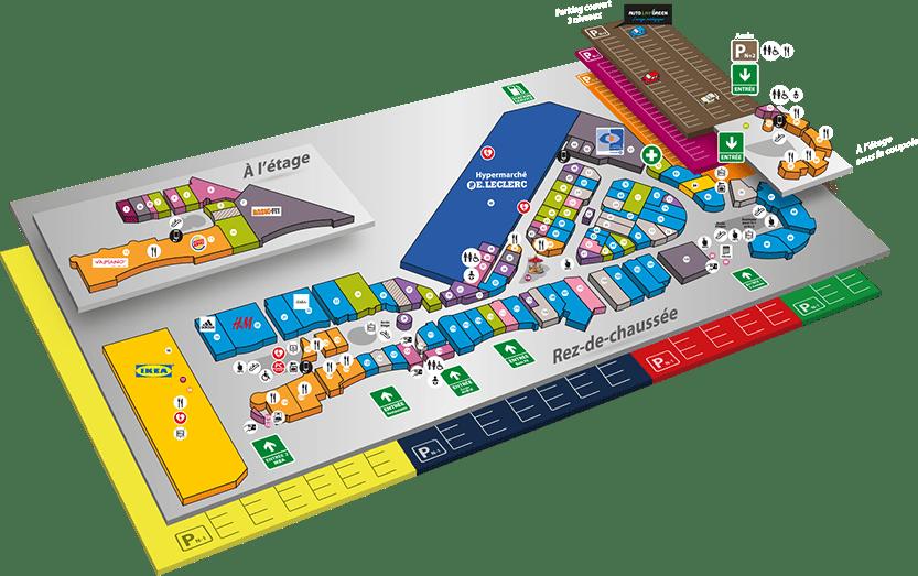plan d'atlantis nantes, accès aux boutiques   nantes atlantis